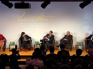 Guests on stage at the Lennart Meri Conference in Estonia