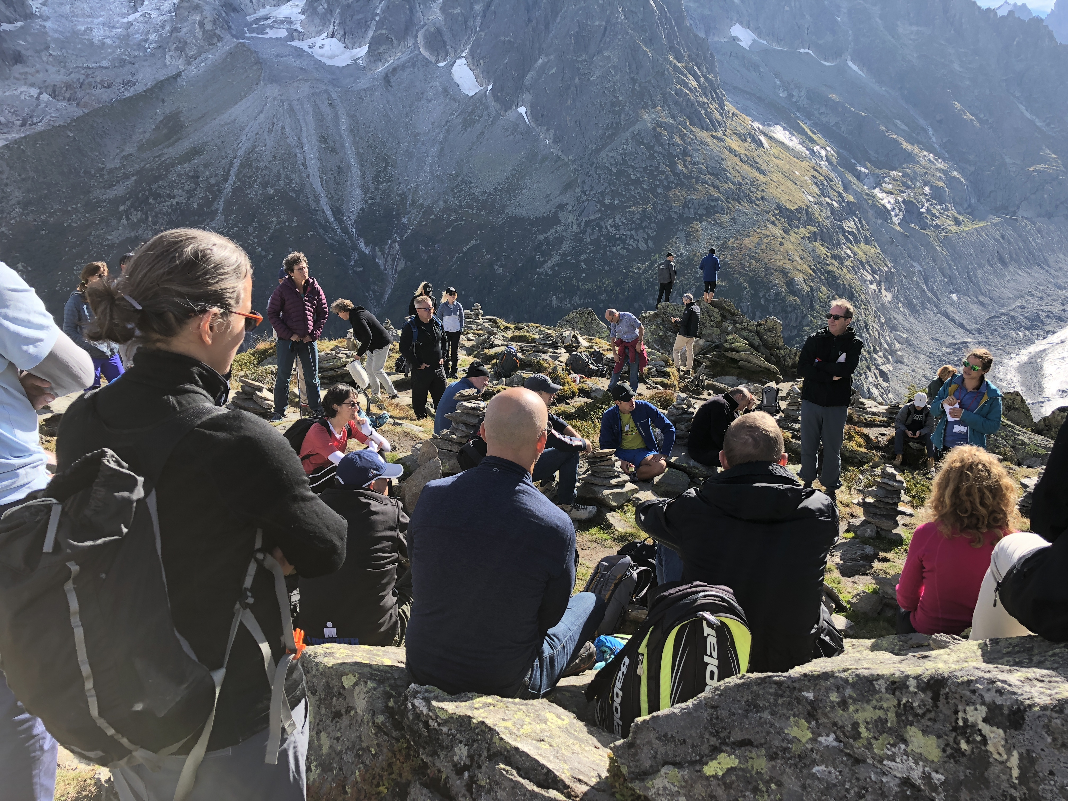 Summit of Minds delegates hiking in the mountains in Chamonix, France
