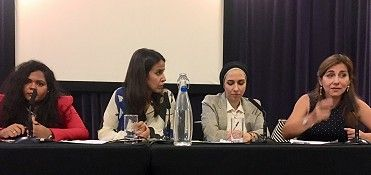 From left to right: Marwa Baabbad, Centre for Women, Peace and Security, LSE, Yasminara Khan (Chair) BBC Newsnight, Reem Assil, Common Purpose, Dr Rim Turkmani, Senior Research Fellow at the Conflict and Civil Society Research Unit, LSE