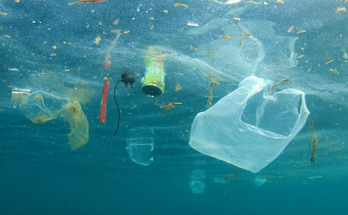 Plastic bag and other plastic items floating just below the surface of the ocean
